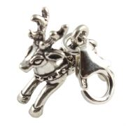 Reindeer 3D Sterling Silver Clip On Charm - With Clasp - Christmas